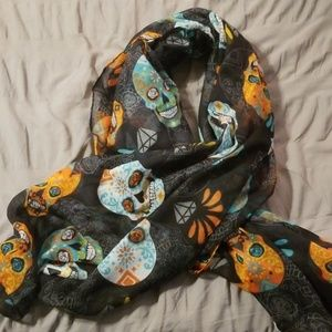 Black sugar skull scarf